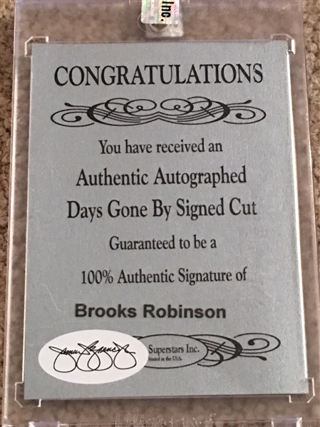 BROOKS ROBINSON HOF AUTO CUT JSA COA 2/2 Made
