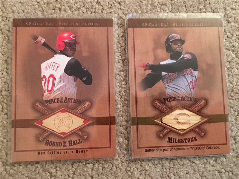 Set of (2) 2001 Upper Deck GRIFFEY Jr GAME USED BAT INSERT Set