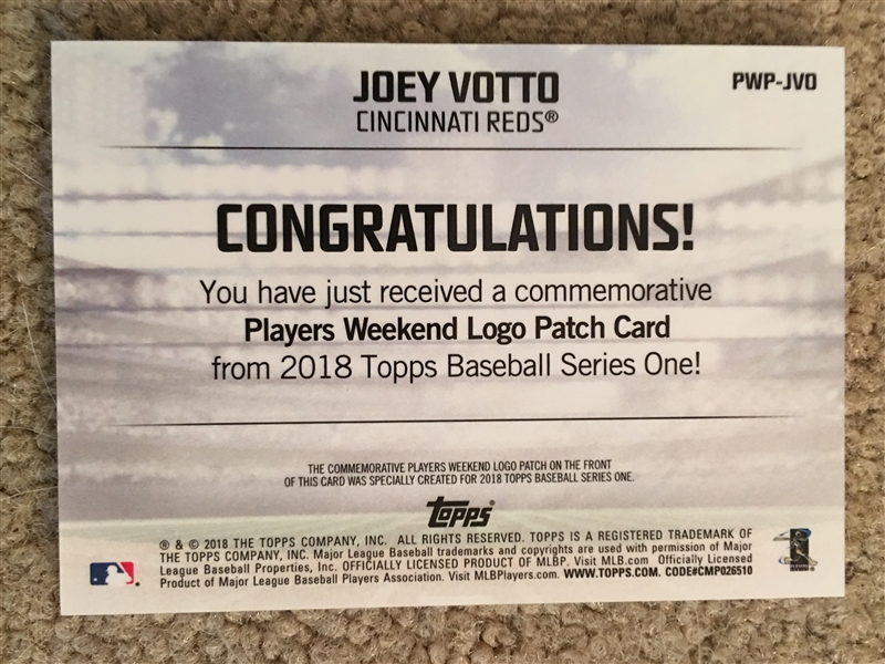 JOEY VOTTO 3D TOPPS PLAYERS PATCH Beauty