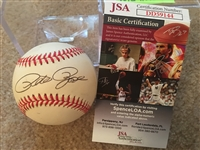 PETE ROSE SIGNED ON VINTAGE $30 N L BASEBAL with $20 JSA COA in CUBE Ready to Display
