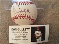 DON GULLETT MOELLER SIGNED on PURE WHITE MLB BASEBALL w SHOW TICKET in CUBE