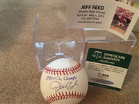 "JEFF REED MOELLER SIGNED on ""10"" MLB BALL w SHOW TIX & $15 SGC COA Brownings PG Catcher"