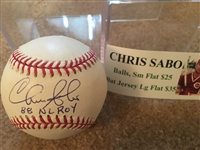 CHRIS SABO INSCRIBED PURE WHITE MOELLER SIGNED MLB with SHOW TOCKET COA